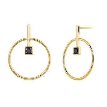 Pendientes circulares con espinela plata recubierta oro, J04059-02-BSN, hi-res