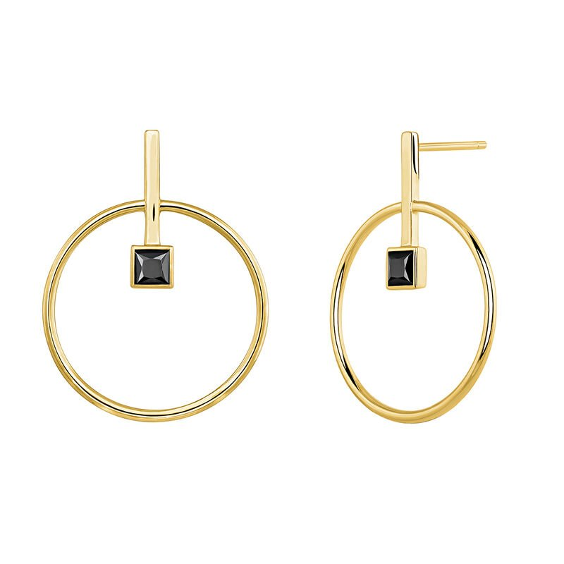 Gold plated circular earrings with spinels, J04059-02-BSN, hi-res