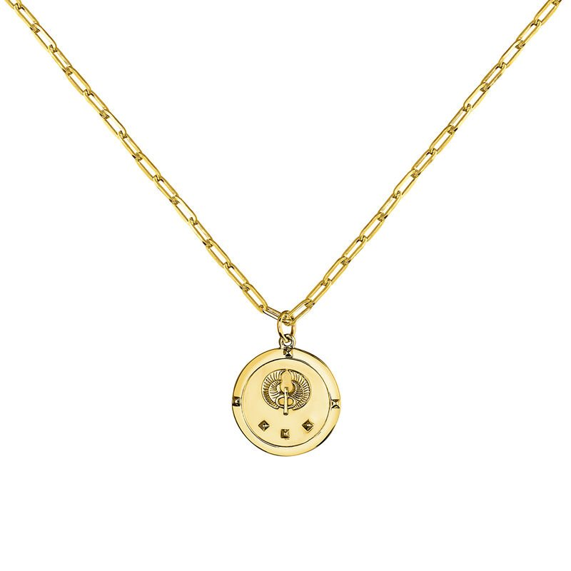 Gold plated star coin pendant, J03589-02, hi-res