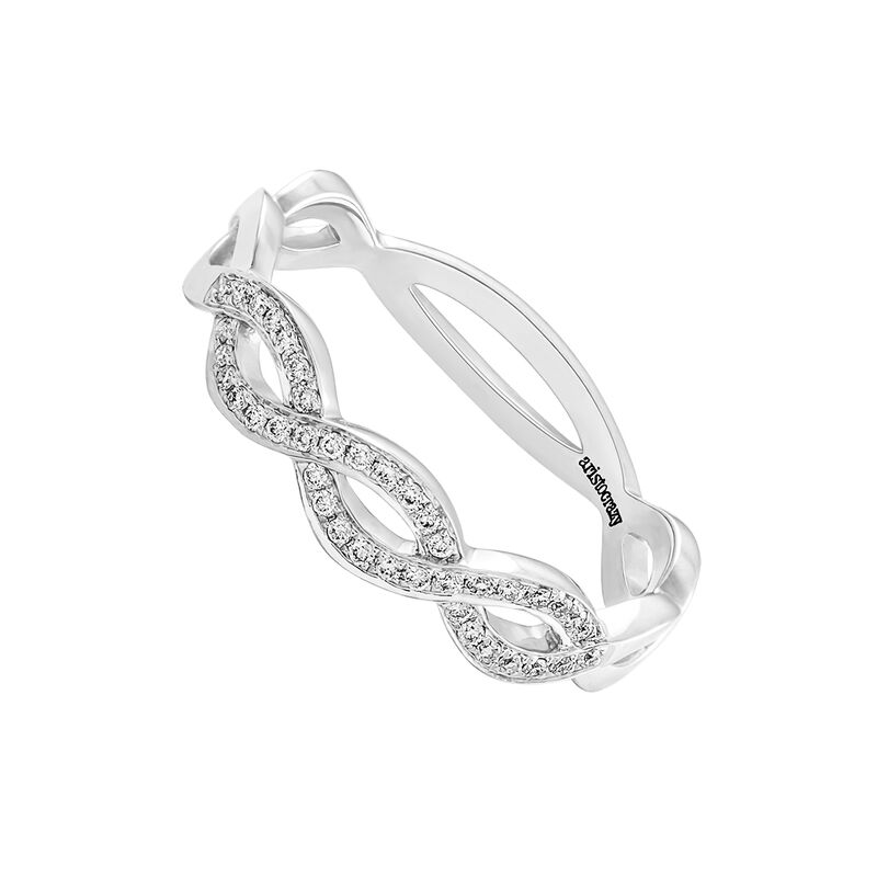 Anillo trenza diamantes oro blanco 0,11 ct, J03348-01, hi-res