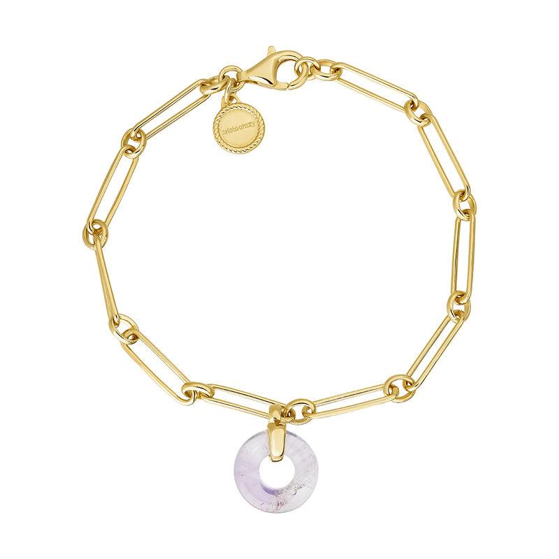 Gold plated silver amethyst motif bracelet, J04755-02-AM, hi-res