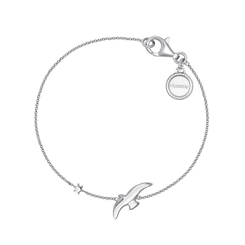 Silver bird and star motif bracelet, J04605-01, hi-res