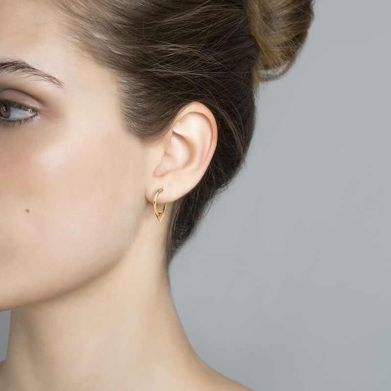 Gold plated triangle pendant hoop earrings, J03961-02, hi-res