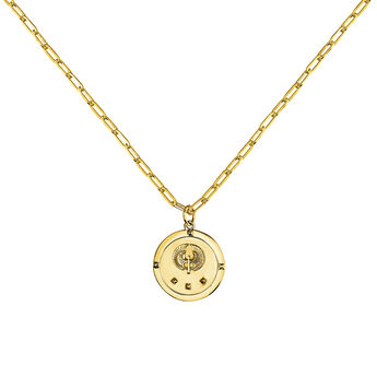 Collier monnaie étoile or, J03589-02, hi-res