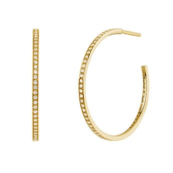 Gold topaz hoop earrings, J04030-02-WT, hi-res