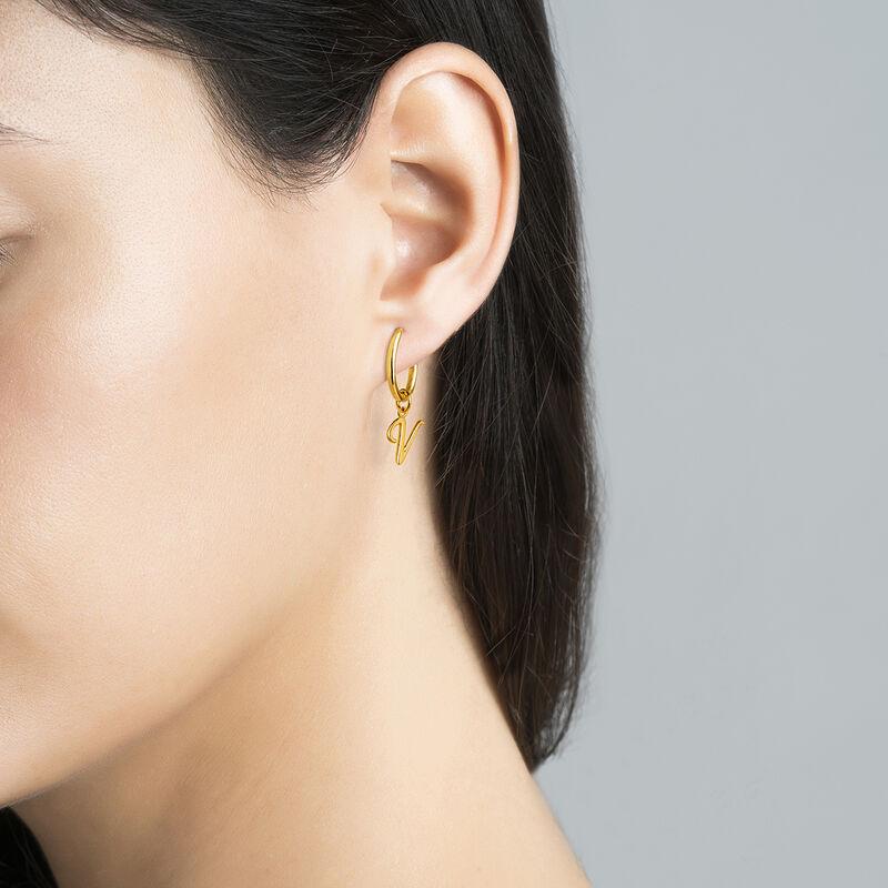gold plated initial V necklace, J03932-02-V, hi-res