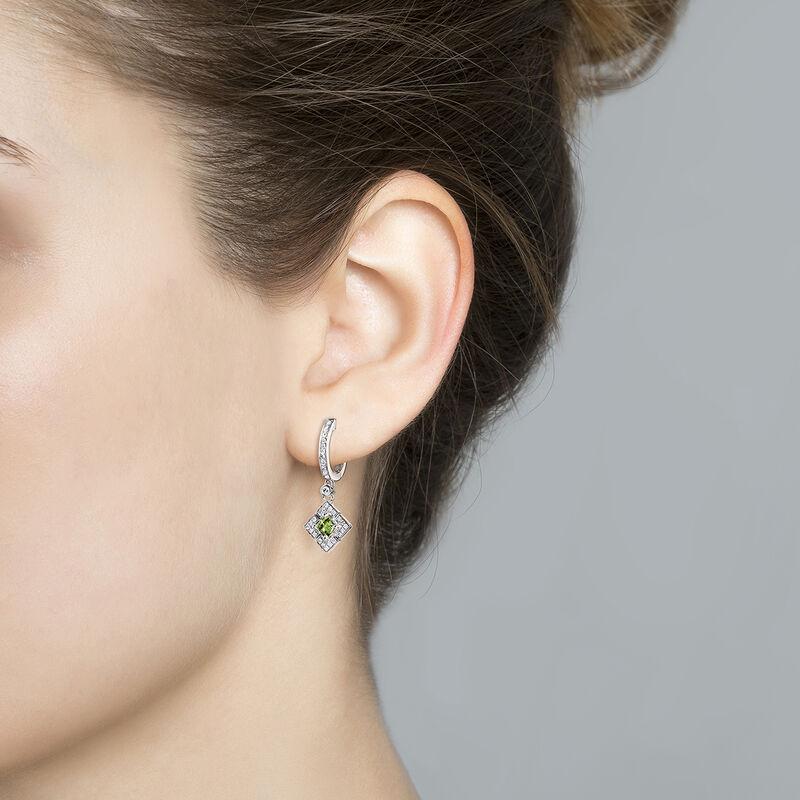 Boucles d'oreilles créoles carrées tourmaline verte argent, J03768-01-GTU, hi-res