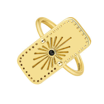 Gold plated rectangular motifs ethnic ring with spinels, J04454-02-BSN, hi-res