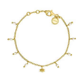 Gold plated silver baroque pearl bracelet, J04471-02-WP, hi-res