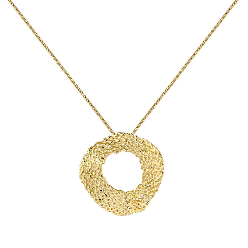 Gold plated geometric wicker circle necklace, J04420-02, hi-res