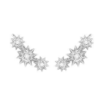 Diamond topaz climber earrings, J03306-01-WT-SP, hi-res