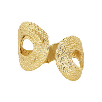 Gold plated wicker rigid bracelet, J04419-02, hi-res