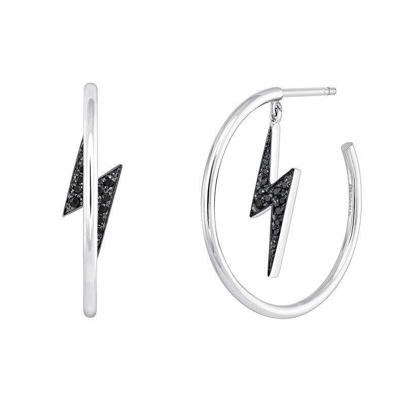 Silver spinel hoop earrings with lightning bolt, J03631-01-BSN, hi-res