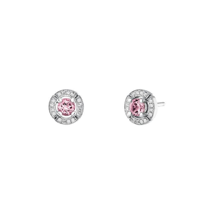 Pendientes turmalina rosa diamante plata, J03770-01-PTU, hi-res