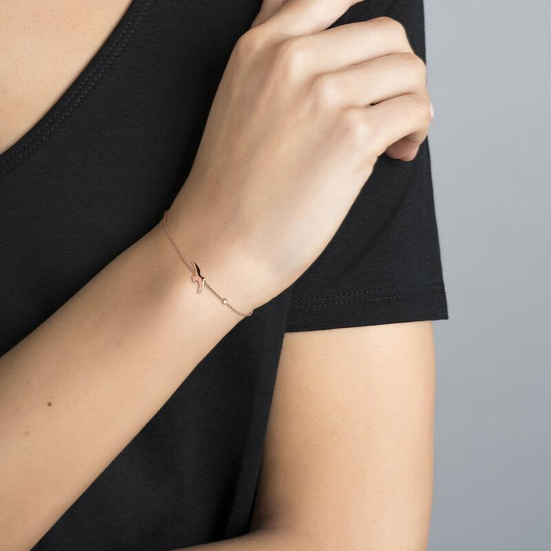 Bracelet en argent plaqué or rose motif colombe et étoile, J04605-03, hi-res