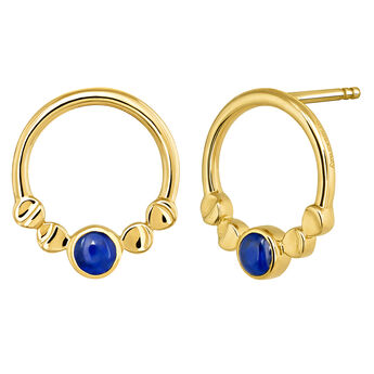 Gold circle gemstone earrings, J03992-02-LPS, hi-res