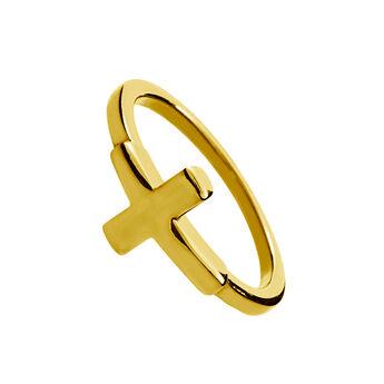 Bague croix argent plaqué or, J00861-02, hi-res