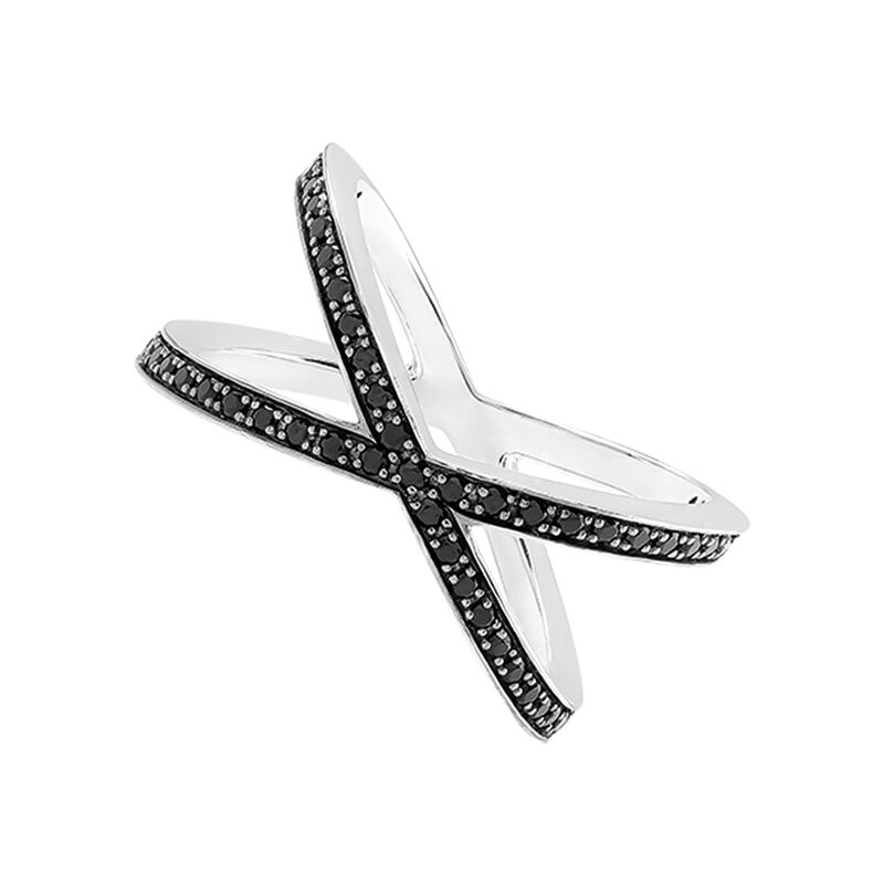 Silver cross ring with spinels, J03263-01-BSN, hi-res