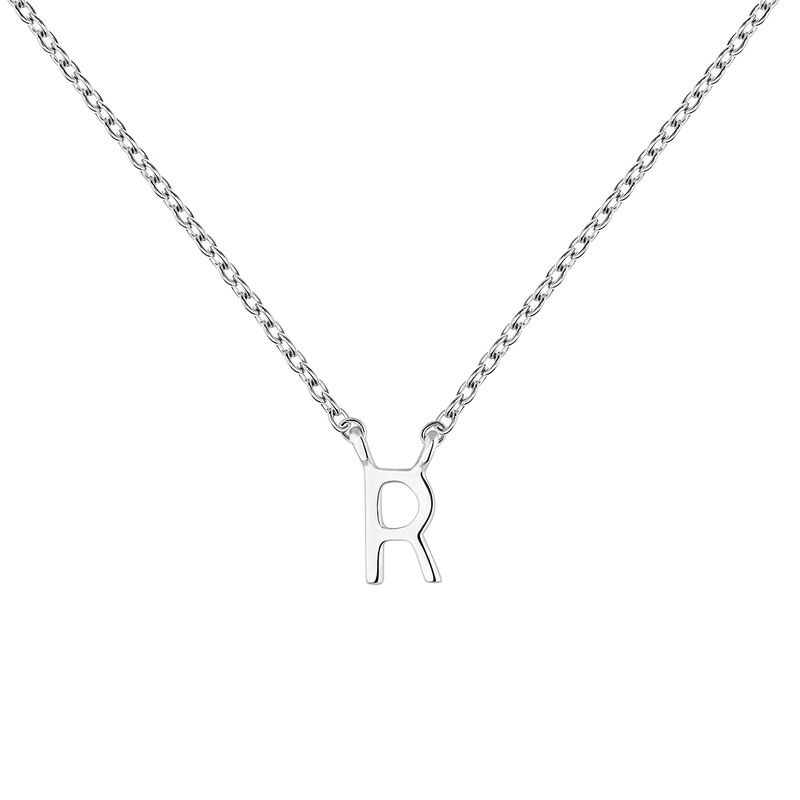 Collier iniciale R or blanc, J04382-01-R, hi-res