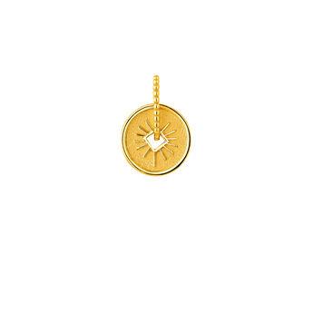 Colgante medalla rayos plata recubierta oro, J04285-02, hi-res