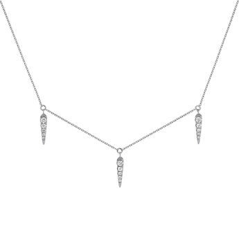 White gold spike motif and diamond necklace, J03887-01, hi-res