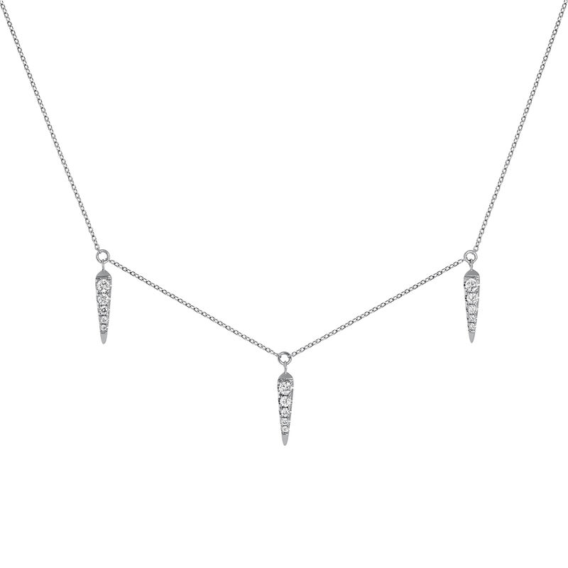 White gold spike motif and diamond necklace 0.15 ct, J03887-01, hi-res