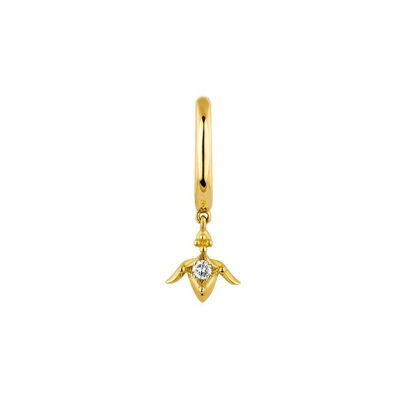 Gold lotus flower hoop piercing diamond 0.012 ct. , J04365-02-H, hi-res