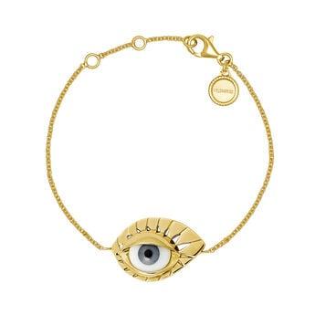 Pulsera ojo azul plata recubierta oro, J04402-02-BE, hi-res