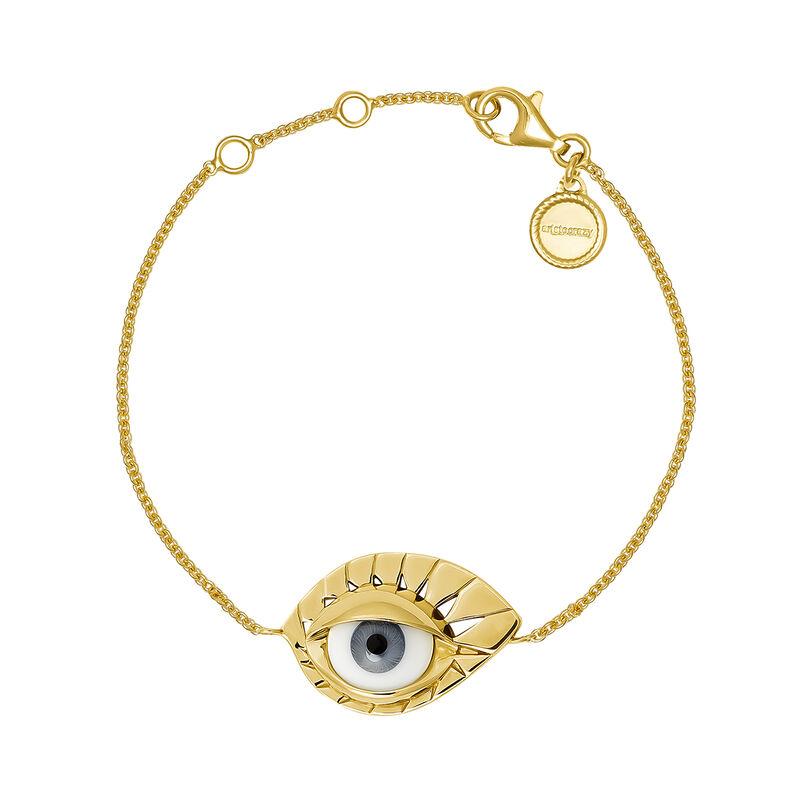 Gold plated silver blue eye bracelet, J04402-02-BE, hi-res