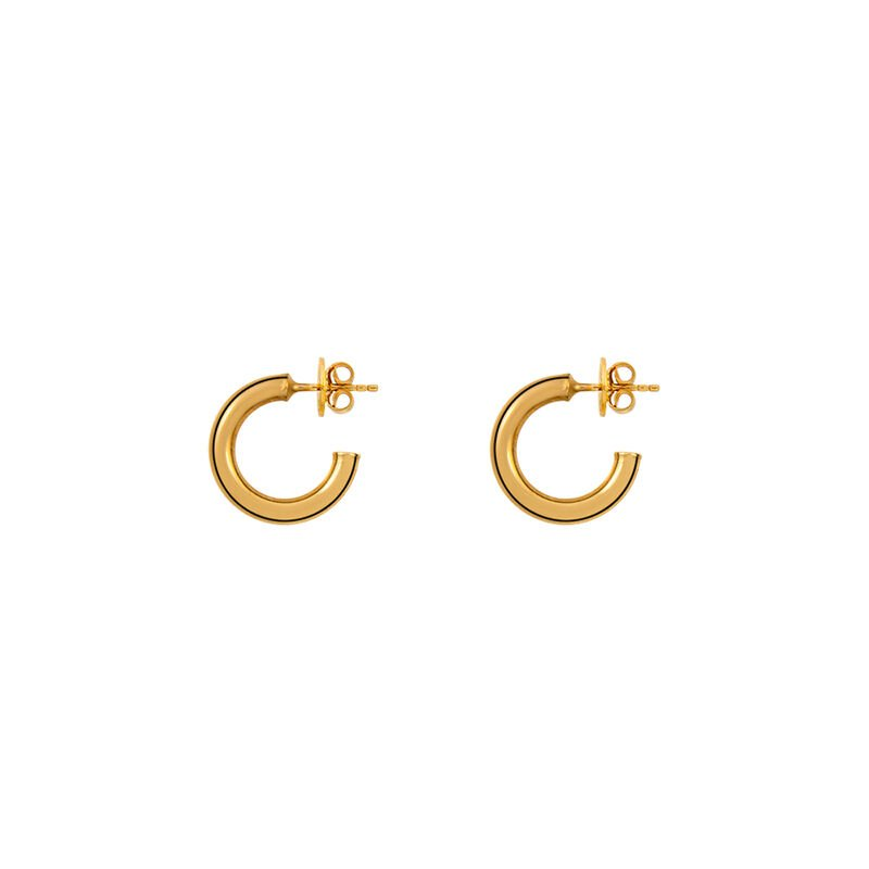Gold small smooth hoop earrings, J01585-02, hi-res