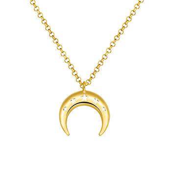Gold large moon necklace, J03460-02, hi-res