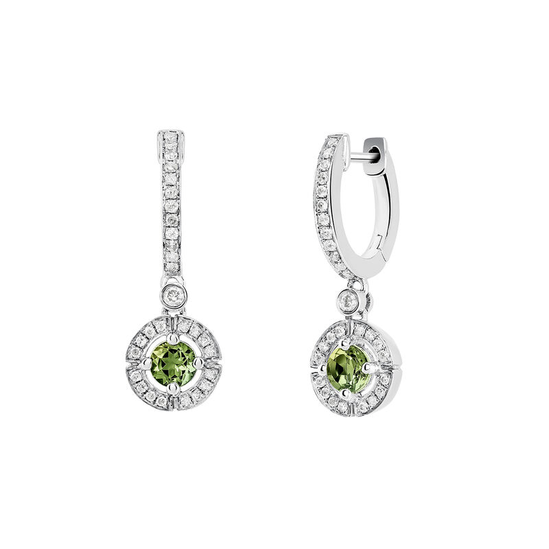 Silver circle hoop earrings with green tourmaline and diamond, J03769-01-GTU, hi-res