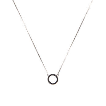 Silver circle necklace with spinels , J01623-01-BSN, hi-res