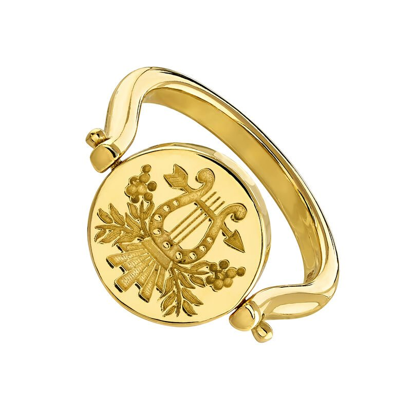 Reversible gold plated unicorn/lyre signet ring, J04190-02, hi-res