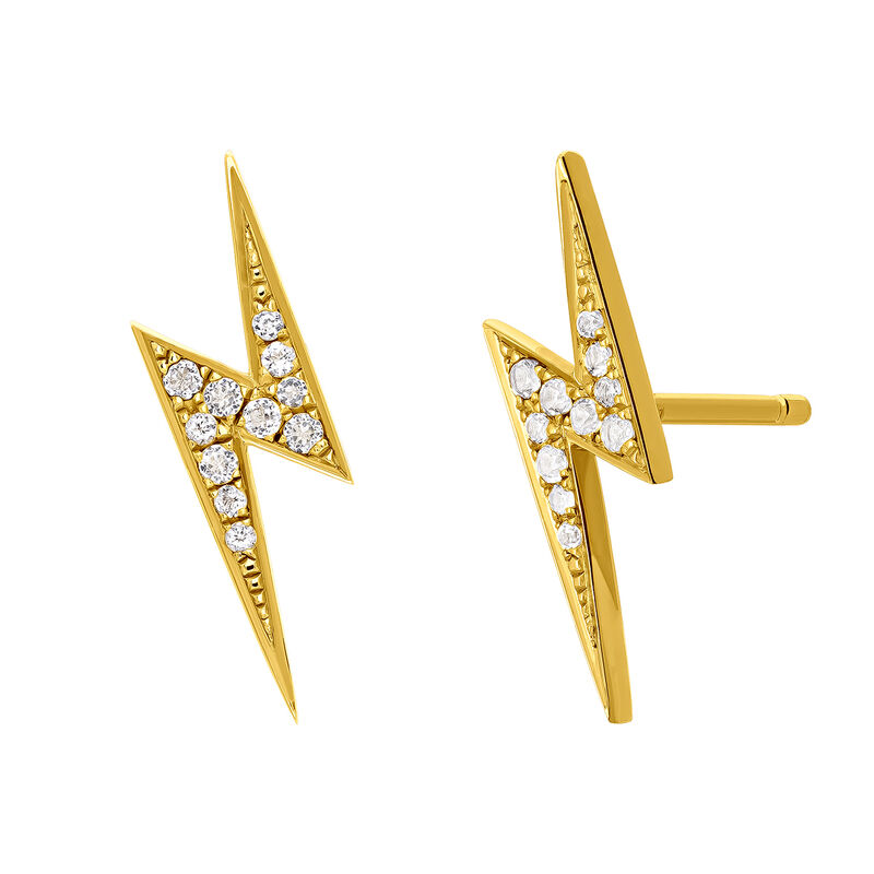 Gold topaz earrings with lightning bolt, J03629-02-WT, hi-res