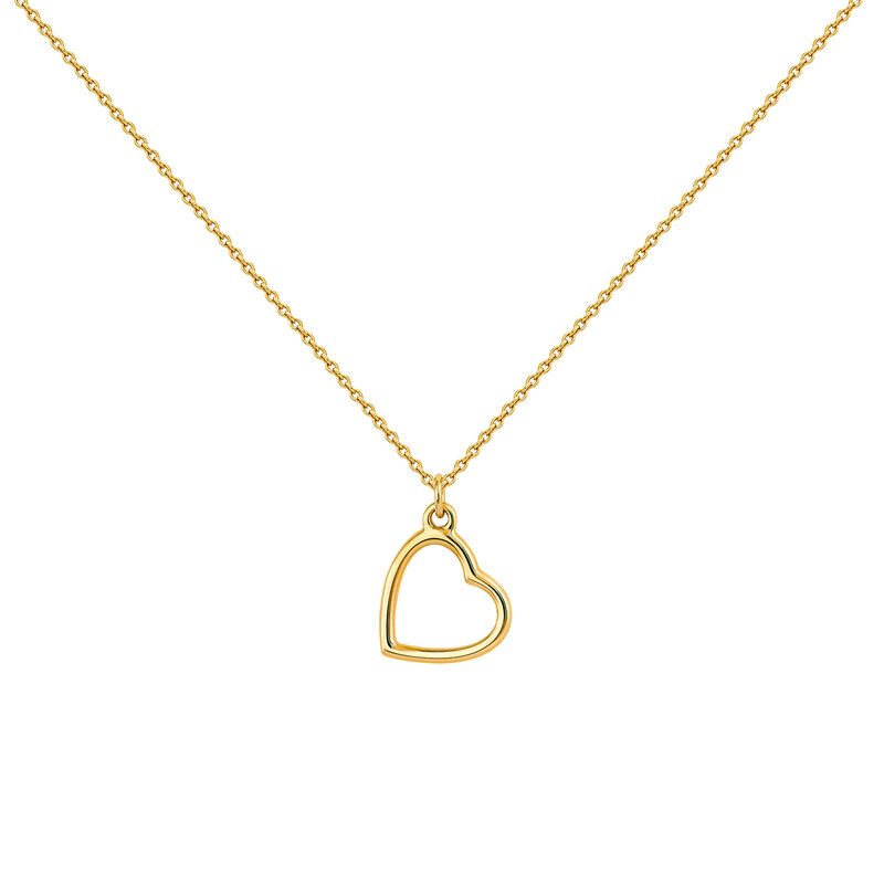 Gold open heart necklace, J04343-02, hi-res