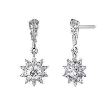 Boucles d'oreilles étoile pierres argent, J03720-01-GD-WT, hi-res