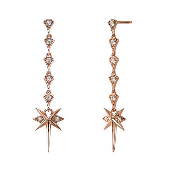 Rose-Gold Long Bohemian Earrings, J03898-03-WT, hi-res