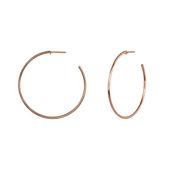 Thin hoop earrings rose gold, J04191-03, hi-res