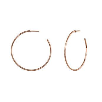 Thin hoop earrings rose gold, J04191-03, hi-res