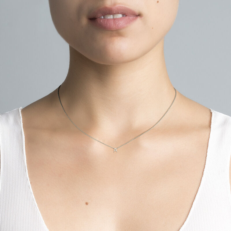 Collier iniciale A or blanc, J04382-01-A, hi-res