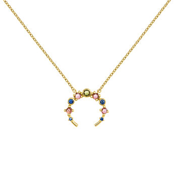 Gold plated open necklace with tourmaline and sapphire, J04151-02-GTPTBS, hi-res