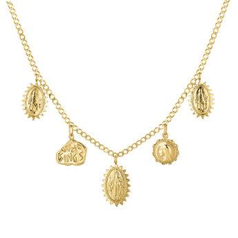 Gold plated multi medal necklace, J04720-02, hi-res