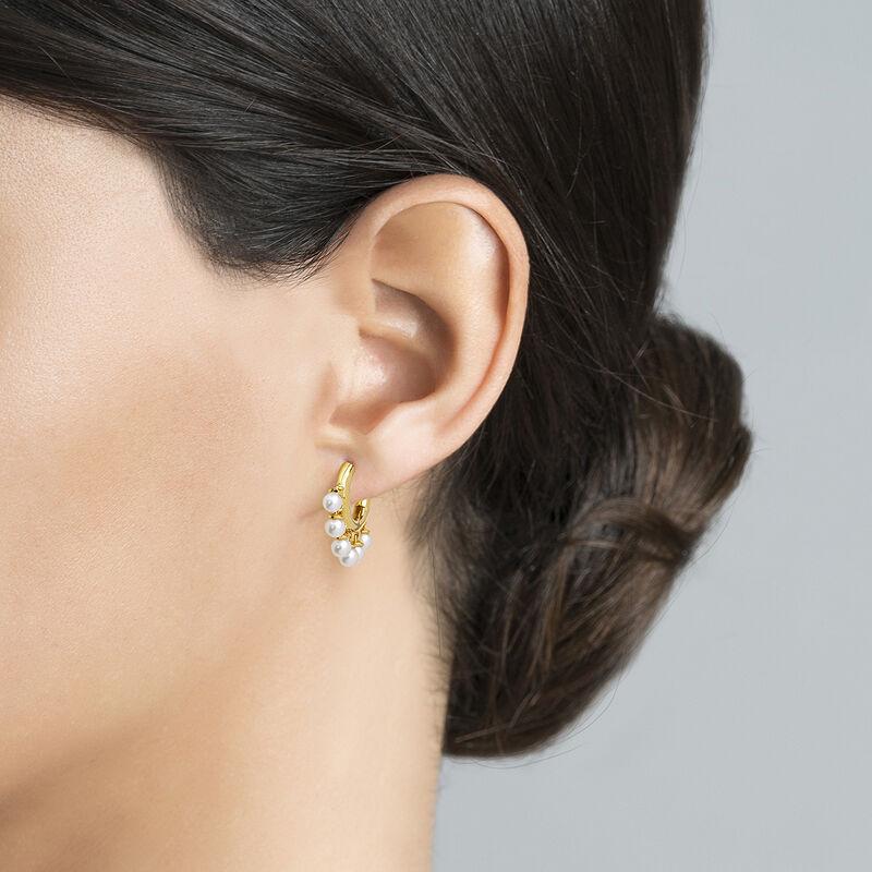 Pendientes aro perlas plata recubierta oro, J04730-02-WP, hi-res