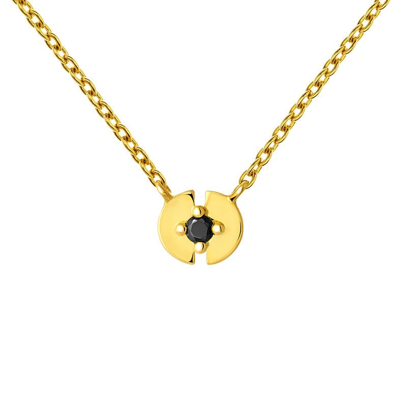 Gold plated spinel full circle necklace, J03746-02-BSN, hi-res
