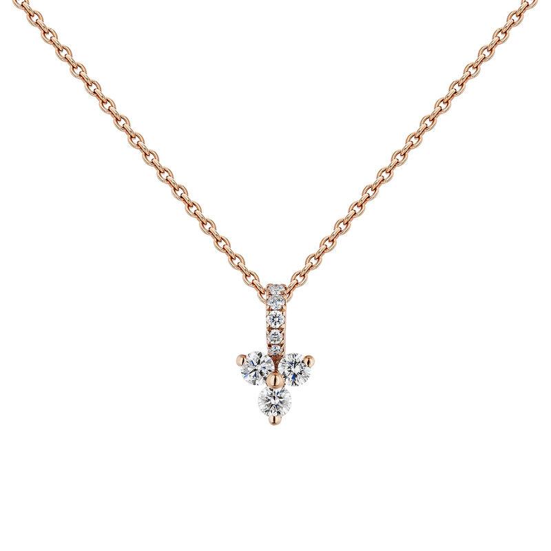 Collier diamants et trèfle diamants or rose, J04430-03, hi-res