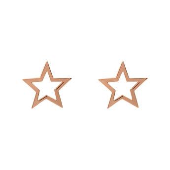 Boucles d'oreilles étoile creuse argent plaqué or rose, J01895-03, hi-res