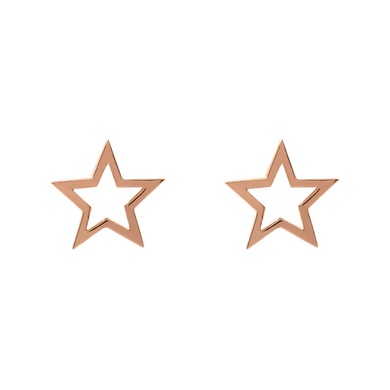 Rose gold hollow star earrings, J01895-03, hi-res