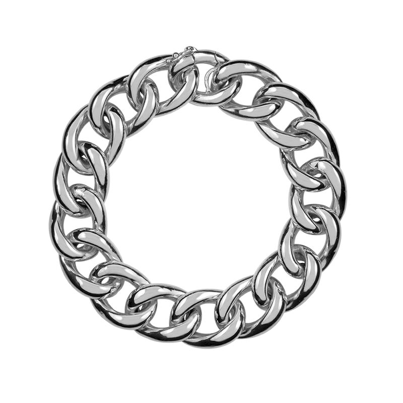 Pulsera barbada mediana plata, J00894-01, hi-res
