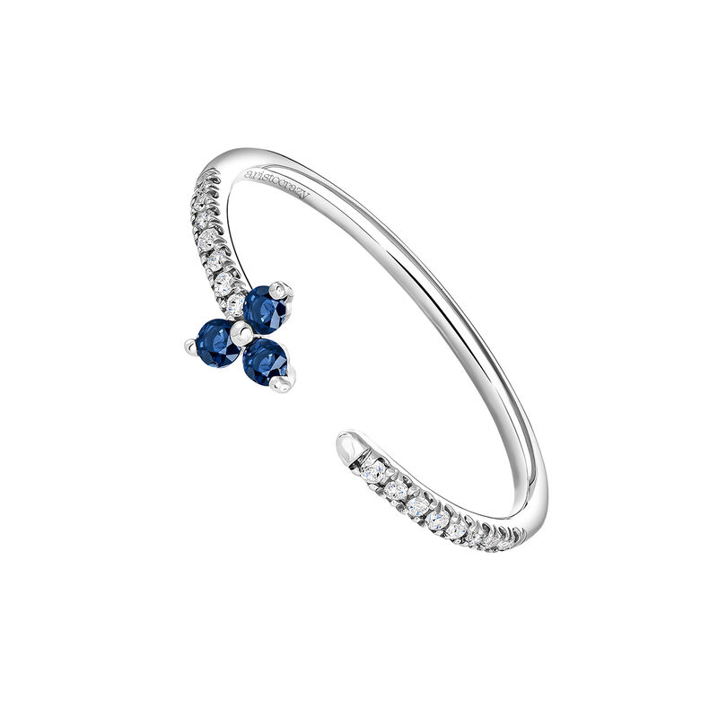 Open ring clover sapphire and diamonds white gold, J04065-01-BS, hi-res